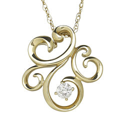 1/10 CT. T.W. Diamond 10K Yellow Gold Pendant Necklace