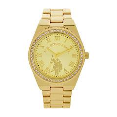 U.S. Polo Assn. Womens Gold Tone Bracelet Watch-Usc40224jc