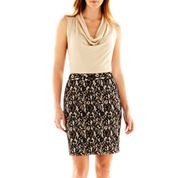 Worthington® Sleeveless Cowlneck Top and Patterned Pencil Skirt