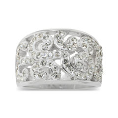 Sparkle Allure Crystal Scroll Ring