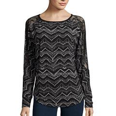 Bisou Bisou® Long Dolman-Sleeve Lace-Shoulder Top