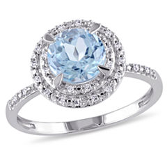 Womens Genuine Blue Topaz 10K Gold Engagement Ring