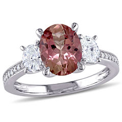 Womens Genuine Pink Tourmaline 14K Gold Engagement Ring