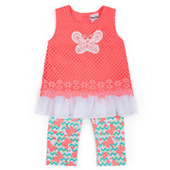 Little Lass Coral Butterfly Top And Legging Set
