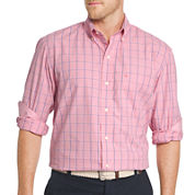 IZOD Mens Long Sleeve Essential End on End Windowpane Shirt