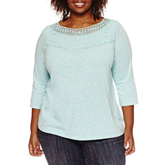 St. John's Bay 3/4 Sleeve Boat Neck Knit Blouse-Plus