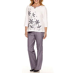 Alfred Dunner® Sausalito 3/4-Sleeve Embroidered Top or Pinstripe Pants