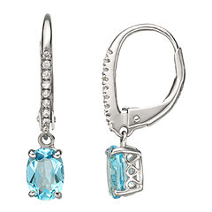 Swiss Blue Topaz & Lab-Created Sapphire Drop Earrings