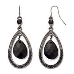 Mixit™ Black Faceted Teardrop Earrings