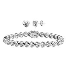 DiamonArt® Cubic Zirconia Line Bracelet & Earrings Heart Set