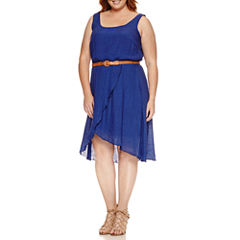Luxology Sleeveless Belted Fit & Flare Dress-Plus