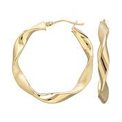 Infinite Gold™ 14K Yellow Gold Wavy Hoop Earrings