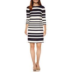 Liz Claiborne 3/4 Sleeve Stripe Shift Dress
