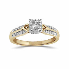 Hallmark Bridal Womens 1/3 CT. T.W. Princess White Diamond 10K Gold Engagement Ring