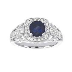 Blooming Bridal 1/4 CT. T.W. Diamond and Color-Enhanced Sapphire Ring