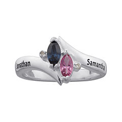 Personalized Marquis Birthstone and Diamond Accent Engraved Ring