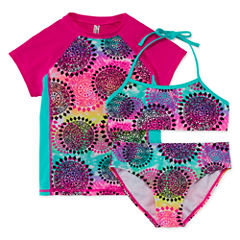 Breaking Waves Solid Rash Guard Set - Big Kid