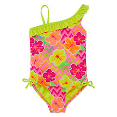 Breaking Waves Pattern One Piece Swimsuit Preschool Girls