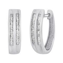 1/3 CT. T.W. Diamond Sterling Silver 2-Row Hoop Earrings