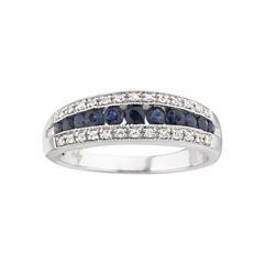 I Said Yes™ 1/8 CT. T.W. Certified Diamond & Sapphire Band