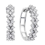 1 CT. T.W. Diamond 10K White Gold Double-Row Hoop Earrings