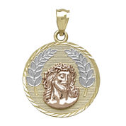Tesoro™ 14K Tri-Color Gold Reversible Jesus and Our Lady of Guadalupe Pendant