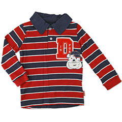 Boys Long-Sleeve Striped Polo - Toddler 2T-5T