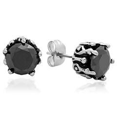 Round Black Cubic Zirconia Stainless Steel Stud Earrings