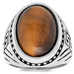 Mens Tiger'S Eye Stainless Steel Band