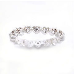 the skinny® Pure Silver-Plated Crystal Heart Eternity Band Ring
