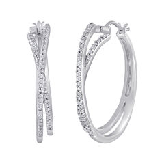1/3 CT. T.W. Diamond Sterling Silver Crossover Hoop Earrings