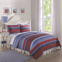 Laura Hart Blue Sebas Stripe Quilt Set
