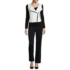 Liz Claiborne® Quilted Knit Jacket, Print Top or Trouser Pants - Petite