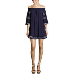 My Michelle 3/4 Sleeve Embroidered Dress-Juniors