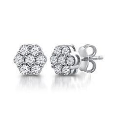 Diamond Blossom 1/2 CT. T.W. Round White Diamond 10K Gold Stud Earrings