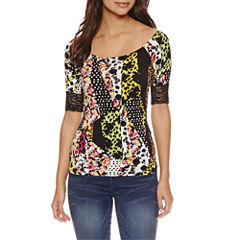 Bisou Bisou Boat Neck Lace Top