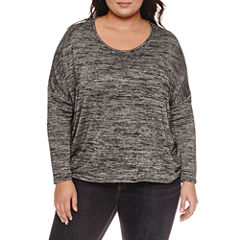 Boutique + Long Sleeve Scoop Neck T-Shirt-Plus