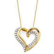 1/6 CT. T.W. Diamond 10K Yellow Gold Openwork Double-Heart Pendant Necklace