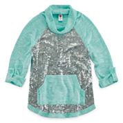 Total Girl 3/4 Sleeve Sequin Hoodie - Big Kid