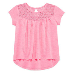 Arizona Girls Short Sleeve Lace Yoke T-Shirt-Preschool