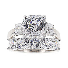 100 Facets by DiamonArt® Sterling Silver Cubic Zirconia Bridal Set