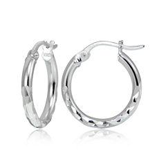 Sterling Silver Petite Diamond-Cut Hoop 15mm Earrings