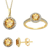 Genuine Citrine and Lab Created White Sapphire Earrings, Ring Or Pendant