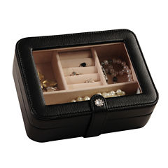 Mele & Co. Rio Faux-Leather Glass-Top Black Jewelry Box