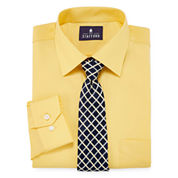 Stafford Travel Easy-Care Long Sleeve Dress Shirt and Tie Set- Big & Tall