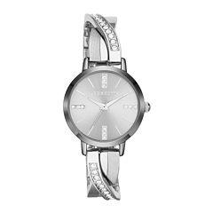 Liz Claiborne® Silver Bangle Twist Bracelet Watch