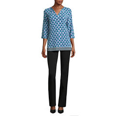 nicole by Nicole Miller Long Sleeve V-Neck Ying Yang Top or Side Pocket Skinny Pants