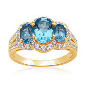 Genuine Blue Topaz & Lab-Created White Sapphire 3-Stone Ring