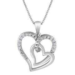 Forevermine Collection 1/10 CTTW Diamond Sterling Silver Double-Heart Pendant