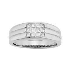 Mens 1/2 CT. T.W. Certified Diamonds 14K White Gold Band Ring